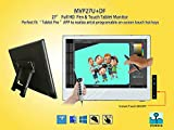 Yiynova MVP27U+DF Full HD Pen/Finger Dual Touch Tablet Monitor,IPS Panel, with 5V3A USB, Detachable Cables(Mac & Windows)