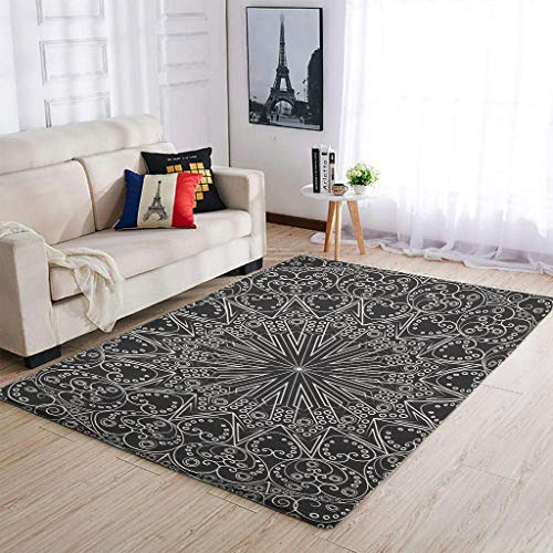 Alfombras de fácil mantenimiento, color negro, para decorar el dormitorio, sala de estar, color blanco, 91 x 152 cm