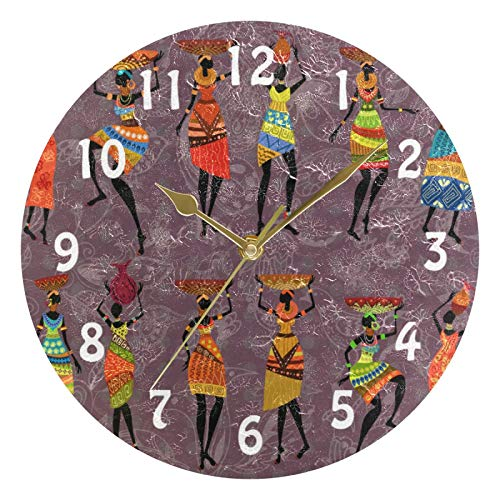 Lihuaval - Reloj de pared redondo para mujer, diseño tribal africano, silencioso, no hace tictac, para decoración del hogar, sala de estar, cocina, oficina, dormitorio, oro, 25 x 0,5 cm
