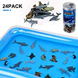 Winsenpro Bath Toys,24PCS Sea Animal with Inflatable Water Mat for Party Birthday Gifts,Realistic Sea Ocean Animals Creature Play Set for Boys Girls (24PCS Sea Animals)
