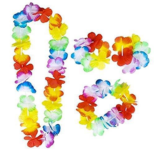 wufeng 4PCS/Set Hawaiian Leis Set Flower Garland Necklace Headband Wristband Hula Party Lady Men Dance Garland