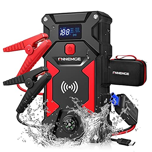 FNNEMGE Car Jump Starter 2500A Peak 24800mAh 12V Super Safe Jump Starter(Up to All Gas, 8.0L Diesel Engine), with 10W Wireless Charger Power Bank and 4 Modes LED Flashlight