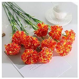 JINGGEGE 10 Pcs/Silk Carnation Artificial Flowers Bundle Red Yellow Pink Fake Carnations Bouquet Wedding Party Centerpiece Decoration (Color : Orange)