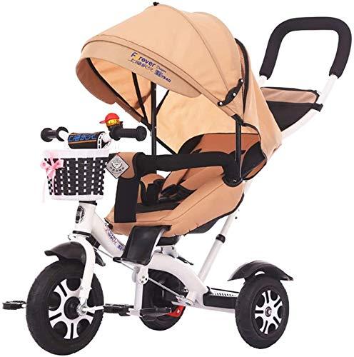 Triciclo ligero portátil para bebé y niños de 18 meses a 5 años de edad, truco de pedal de 3 ruedas con neumáticos sin inflar, cesta de almacenamiento, manillar ajustable y S