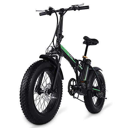Shengmilo 20 Zoll Elektrisches Fahrrad, faltendes elektrisches Fahrrad, Fetter Reifen Ebike, 48V 15AH,500W (Black)