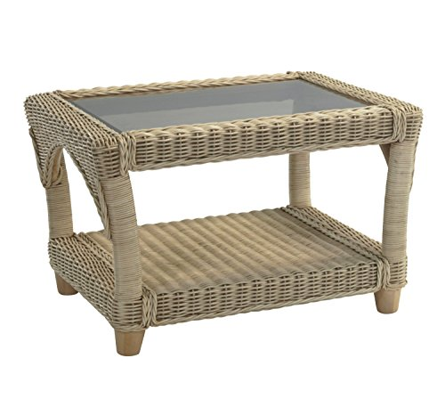 Desser Stamford Coffee Table with Storage Shelf – Glass Top Table with Natural Wicker Rattan Cane Frame Indoor Conservatory or Living Room Furniture - H47cm x W73cm x D62cm