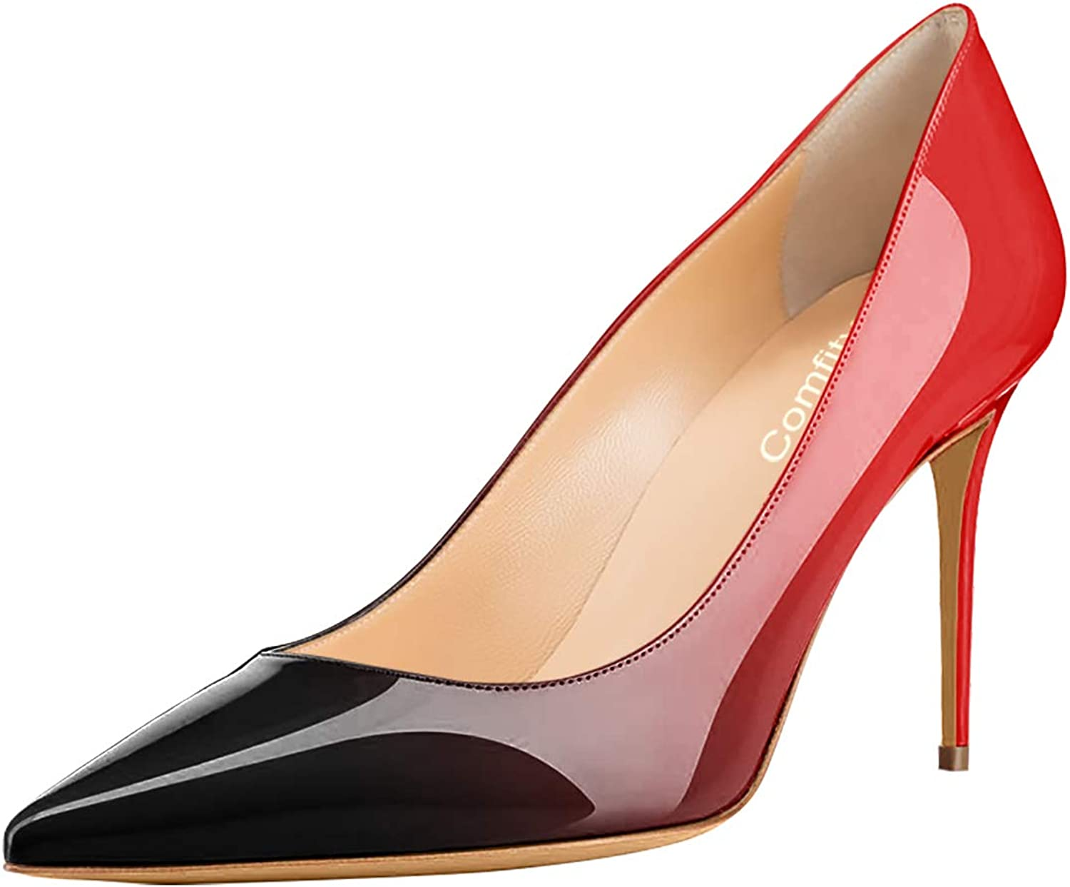 Comfity Pumps shoes, Women's Slip On High Heels Sexy Pointed Toe shoes Dress Office Pump Sandals