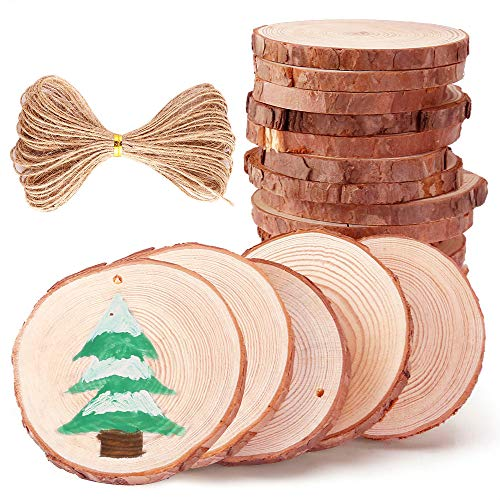 Caydo 20 Pieces 2.8-3.2 Inch Unfinished Predrilled Wood Slices Thickness of 0.8cm Solid Round Log Discs and 33 Feet Natural Jute Twine for Wedding Ornaments Decorations