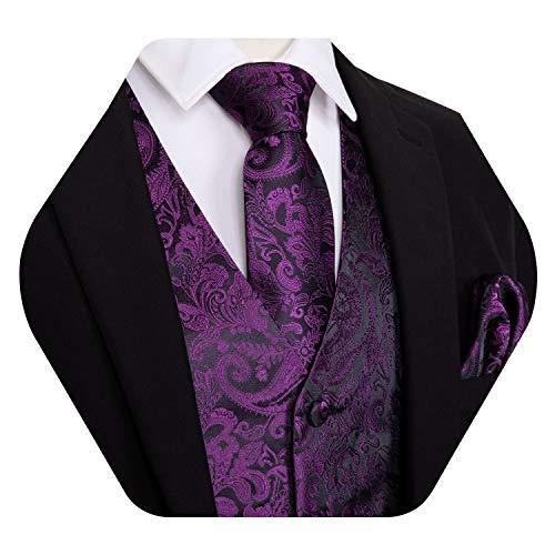 Barry.Wang - Gilet da uomo con motivo cachemire, con tasca e gemelli quadrati Viola L