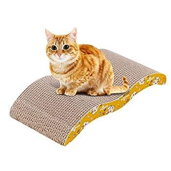 Zubita Griffoir pour Chats, Chat Griffoirs avec Herbe à Chat en Carton Recyclable Durable Rembourrage comme Canapé, Canapé-lit, au Noël pour Les Chats Mignons 44 x 21.5 x 7.5cm