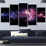 AWER Decoración para el hogar, arte de pared, pintura en lienzo, 5 piezas de lienzo de arte de pared,Nebulosa del cielo espacial estrellado, paisaje, carteles, imagen, dormitorio (marco)