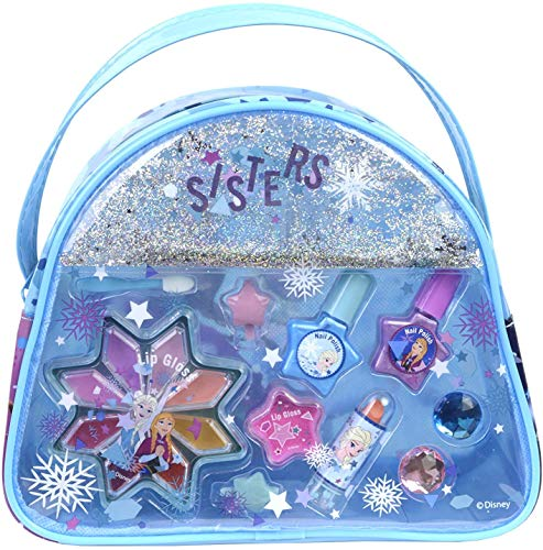 Markwins Frozen Snow Magic Beauty Tasche enthält Kinderschminke, Ringe und Haarclips im Anna & Elsa-Design