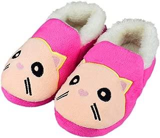 Tirzrro Girls Little/Big Kids Warm Plush Cat Slippers Hard Sole Cute Animal Indoor Outdoor Slip-on Shoes