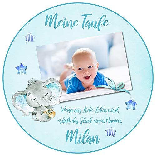 Tortenaufleger Tortenbild Taufe blau Babyelefant Jungen sofort frei gestalten den Wunschtext und Foto essbar Ø 20cm 639
