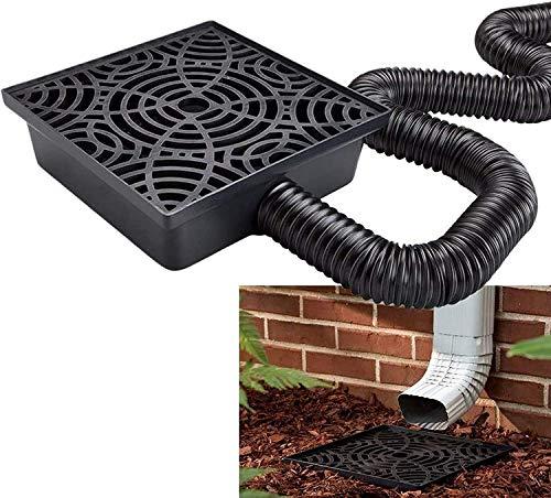 WholesalePlumbing Supply 2-Pack Decorative Downspout Black Splash Block Rain Gutter Drain Extender