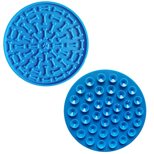 Best Deals! Glumes Dog Lick Mat Pad Treat Dispensing Mat Round Shape Dog Peanut Lick Mat Slow Feeders Distraction Device with Suction Cup to Wall for Bath Grooming Pet Training (Blue)