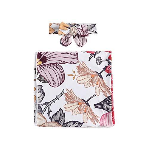 LUCSUN Neugeborenes Baby Wickeltuch Kleidung Floral Empfang Decken Säugling Schlafsack Wrap Stirnband Set Gr. Einheitsgröße, gelb