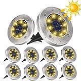 10 Stücke Solarlampen für Außen Garten, DUTISON Solar Lampe Outdoor, LED Solar Gartenleuchten, mit 8 LED, 3000K/6000K IP65 Wasserdicht, Solarleuchten Garten für Rasen Auffahrt Gehweg Patio Garden