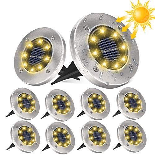 10 Stücke Solar Bodenleuchten Aussen, DUTISON Solarleuchten Garten mit 8 LEDs für Außen, 6000K Warmweiß IP65 Wasserdicht Led Solar Gartenleuchten, Solarlampen für Rasen Auffahrt Gehweg Patio Garden