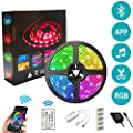 SHYMERY LED Strip Lights, Color Changing Rope Lights SMD 5050 RGB Light Strips with Bluetooth Controller, Apply for TV, Bedroom, Party and Home Decoration