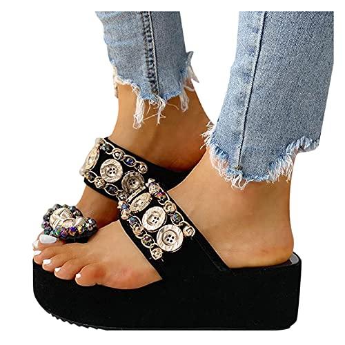 ZBYY Sandalias de plataforma para mujer, plataforma de verano, zapatos planos de cuña cómodos zapatos de cuña con diamantes de imitación de dedo del pie del anillo de diapositiv