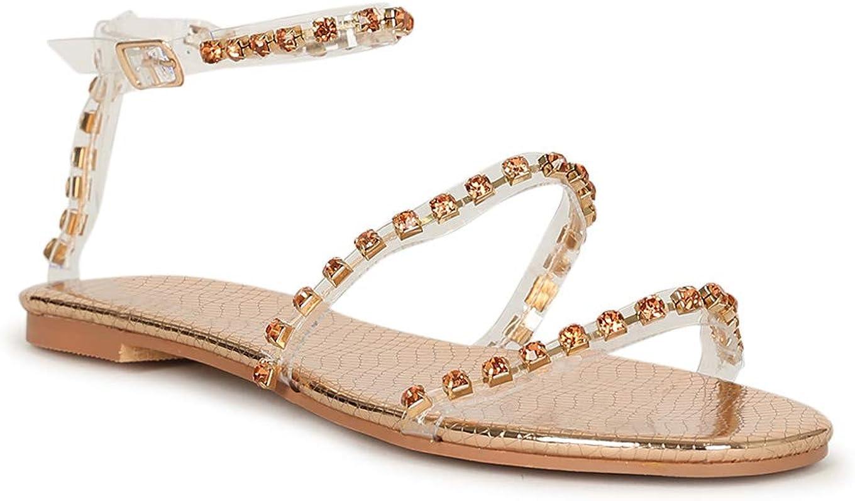 Alrisco So Me Clear Rhinestone Ankle Strap Flat Sandal 20059 - Rose Gold Metallic (Size: 6.5)