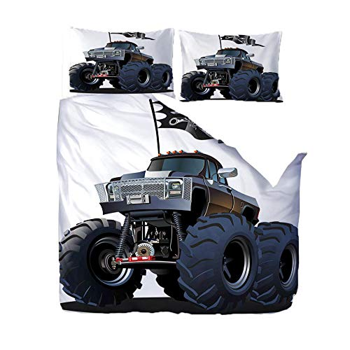 RGBVVM Påslakanset King Size 88 x 94 tum svart leksaksbil sängklädesset med 2 örngott 50 x 75 cm, ultramjuka mikrofiber överkast sängar med smidig dragkedja påslakan