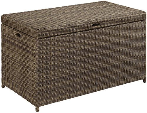 Crosley Furniture CO7305-WB Bradenton Outdoor Wicker Storage Bin - Weathered Brown