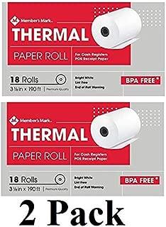 Thermal Receipt Paper Rolls, 3 1/8 X 190', 18 Rolls (2 Pack)