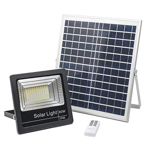 Foco Solar LED 80W, Luces Solares Jardín Luz Blanco-Neutro 4000K, Lámpara Solar Hasta 15 HORAS de Luz, Iluminación Solar 3000 LM, Aplique Solar 120 LEDS