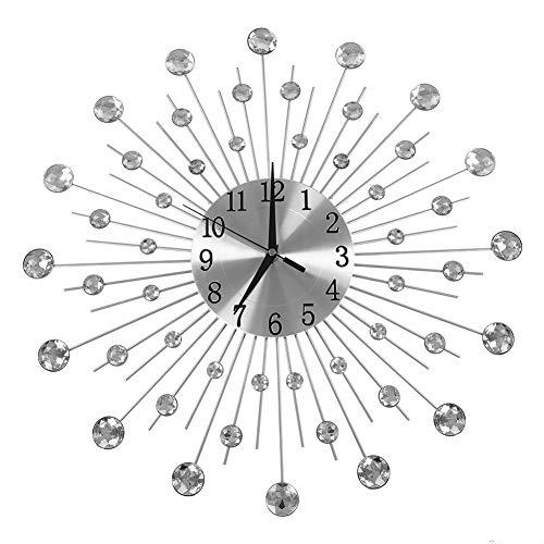 Orologio creativo da parete in ferro a forma di fiore con strass e strass, bello e pratico
