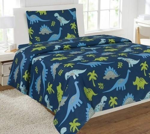 Fancy Linen Collection Twin Size 3 Pc Sheet set Dinosaur Blue Light Blue Grey Green # Dinosaur Blue New