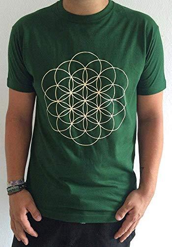 Grünes Blume des Lebens T-Shirt für Yoga, Meditation mit beige farbener Lebensblume