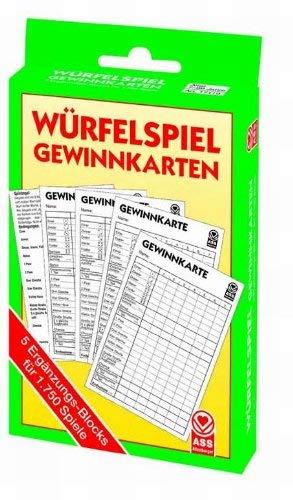 Spielblock Gewinnkarte für über 1700 Würfelspiel 5 Stück in Packung