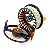 Maxcatch Tail Fly Fishing Reel Waterproof Light Weight Large Arbor Teflon Disc with CNC-machined Aluminum Alloy Body 5/6 7/8wt (Black Reel with Fly Line, 7/8wt)