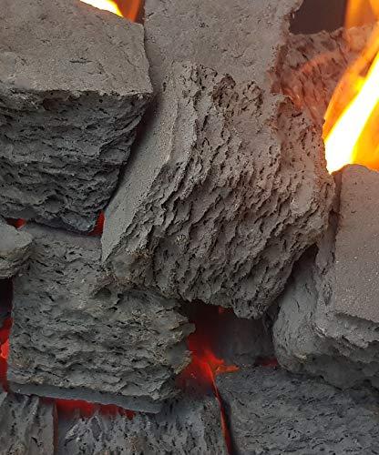 20 extra große quadratische Gasfeuerkohle Firebrand Direct Keramik-Ersatz für Gas/Bio-Kraftstoff/lebendige Flamme