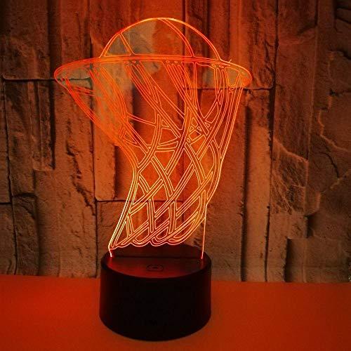 Lámpara 3D de noche con diseño de balón de baloncesto, decoración de fiesta en el hogar, 7 colores, multicolor, 3D, luz nocturna, el mejor regalo para niños que aman a los niños.