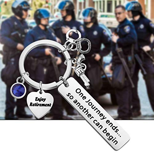 Product Image 6: HOLLP Police Retirement Gifts Police Officer Retired Keychain One Journey End.So Another Can Begin Keychain Police Jewelry Gift for Police Officer (Keychain)