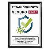 Certificado Establecimiento Seguro [ Covid-19 ] | Certificado Informativo Local Seguro para Clientes | Incluye Marco, Cristal y Sistemas de Colocación en Pared o Sobre Mesa