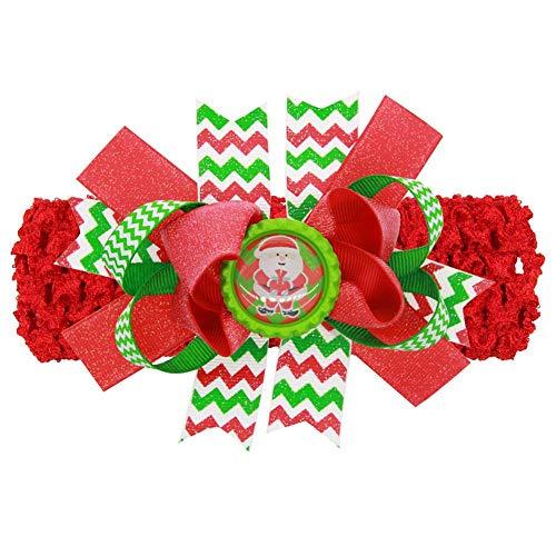 Demarkt meisjes baby haarband hoofdbanden parels bloemen kerstdecoratie 15*12cm rood/groen.
