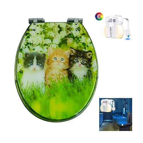 Cuarto de baño Espesar el asiento del inodoro Silencio de cierre suave Tapa de inodoro universal tipo VUE Regalo luz de baño con sensor inteligente Tabla de inodoro (Color : D)