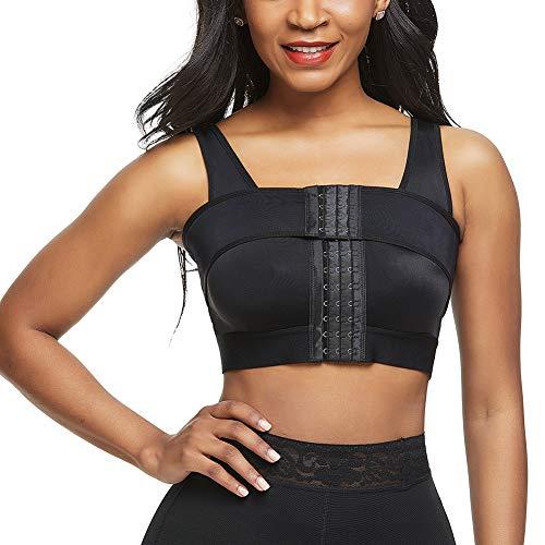 Women Breast Augmentation Bra Post Surgery Compression Front Closure Black XL