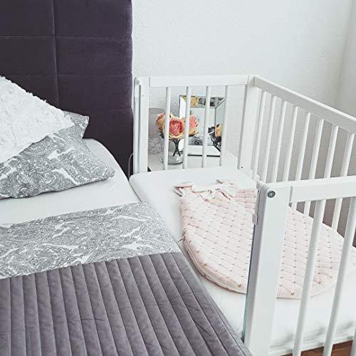 Fillikid Beistellbett - 2 in 1 Babybett - inkl. Matratze - 90 x 40 cm - Cocon Weiß (weiß inkl. Matratze und Nestchen)