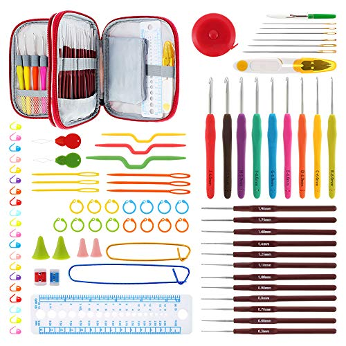 86Pcs Crochet Hooks Set Accessories with Case, Ergonomic Crochet Hooks Knitting Needles Weave Yarn Kits with Soft Rubber Handle, Crocheting DIY Tools for Beginners, Experienced, Crochet Lovers