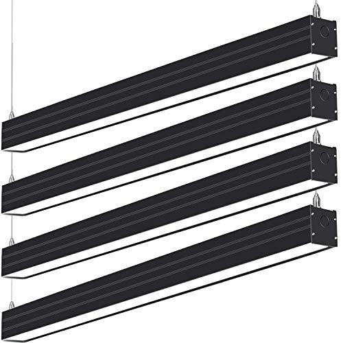 4FT Linkable LED Linear Light, 40W(120W Equv.)4600lm 3000K/4000K/5000K CCT Selectable, Dimmable Architectural LED Suspension Office Lighting Fixture for Market, Garage, ETL,4pack-Black