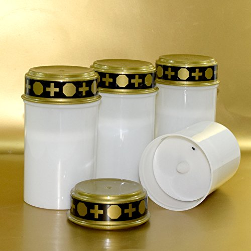 Di-Nesh (543) 4er LED Weiss Grablicht 12,5cm flackernde Kerze Grabkerze Grableuchte