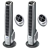 Lasko 40 Inch Widespread Oscillation Hybrid Tower Fan w/Remote Control (2 Pack)