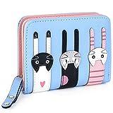 UTO Damen Wallet DREI süße Katze Bifold Kartenhalter Kleine Geldbörse aus Kunstleder mit hellblauer Reißverschlusstasche