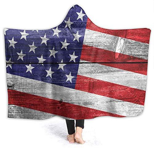 YOUMEISU Manta con Capucha,Día Independencia Patriotismo País Commonwealth Tablón Madera Imagen Rústica,Mantas con Capucha Manta Cálida Invierno 150x200cm