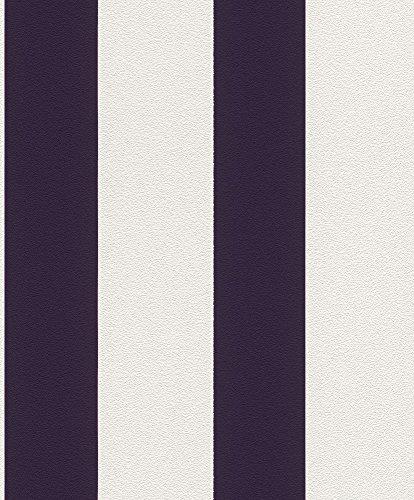 Vliestapete Streifen Gestreift weiß lila Tapete Rasch Prego 700282